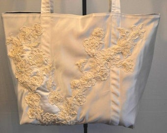 Ivory and Orchid Bridal bag tote satin and beaded brides bag