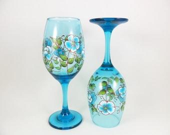 Wine Glasses Hand Painted Aqua Blue Copper Set of 2
