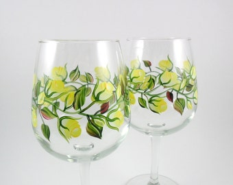 Wine Glasses Hand Painted Wine Glasses Yellow Roses Set of 2