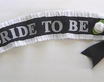Bachelorette party sash, Bride To Be sash, hen party sash, black and white sash