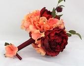 Silk Wedding Bridal Bouquet, Boutonniere- Coral Hydrangea, Red Peony. Burgundy Accents, Fall Wedding, Bridesmaid Bouquet