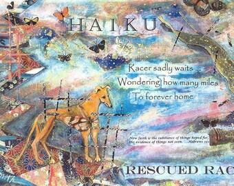 Greyhound Rescue Art:  HAIKU, Rescued Racer II