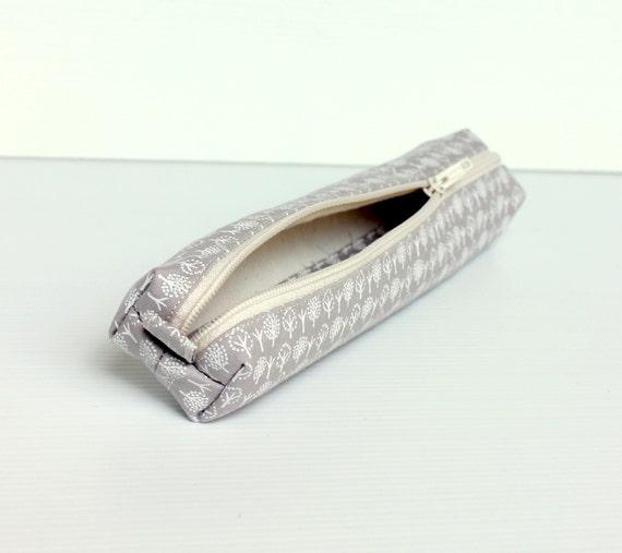 Kawaii Grey Titanium Petite Pencil Case, Small Cotton Zipper Pouch