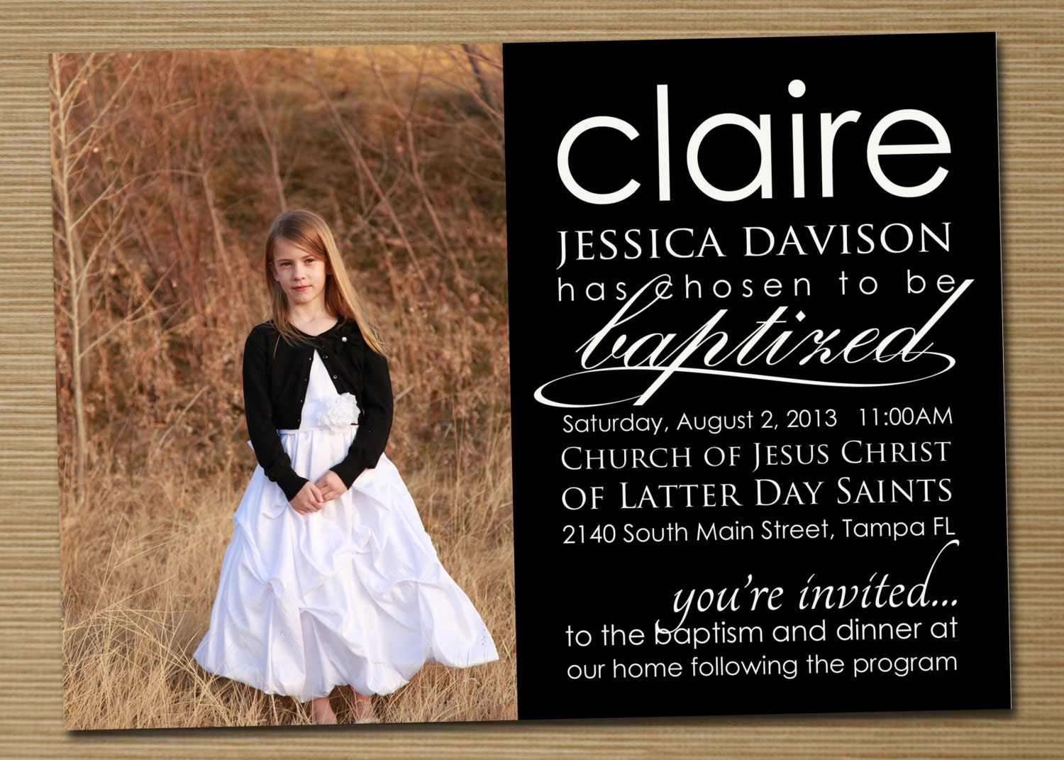 Invitation Baptism Girl with luxury invitation example