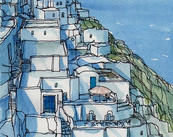 Santorini Fira 1 Greece art print from an original watercolor painting