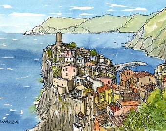 """Vernazza,  Italy, 7"""" x 5"""" art print from an original watercolor painting"""