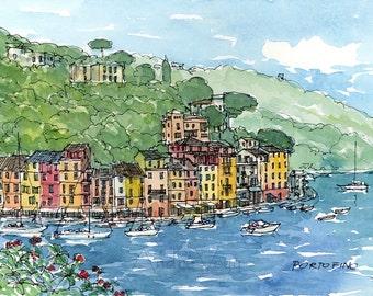Portofino Italy art print from an original watercolor painting