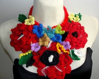 LARIAT crochet  in the SUMMER, necklace,scarflette,jewelry,neckwarmer, multicolor ecofriendly product