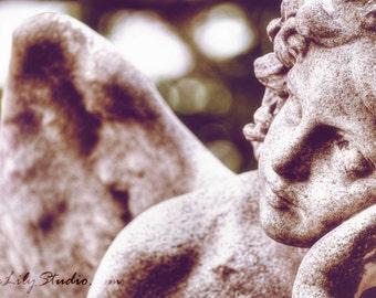 Angel Mine : angel photo art nouveau guardian statue sculpture cemetery photography ethereal home decor 8x12 12x18 16x24 20x30 24x36
