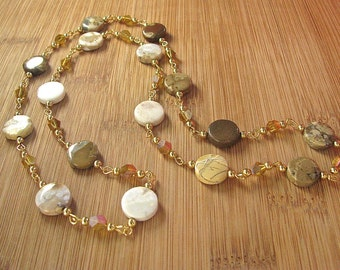 Yellow Composite Jasper and Crystal Segmented Chain Gemstone Necklace