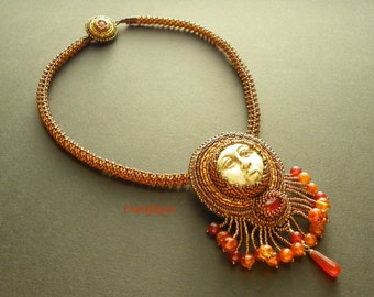 Polymer Clay Sun Face Necklace With Amber and Carnelian (Loved by the Sun)