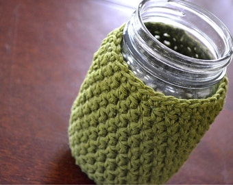 Mason Jar Cozy in Olive Green, Mason Jar Gift, Cup Cozy, Jar Cup Cozy, Mason Jar Lovers Gift, Teachers Gift, Drink Cup Cozy, Mason Jar