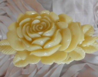 1930's Ivory Colored Celluloid Rose Pin