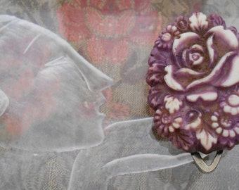 Burgundy Rose Celluloid Dress Clip