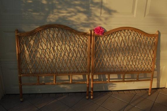 pair of vintage rattan wicker twin headboards on sale cottage. Black Bedroom Furniture Sets. Home Design Ideas