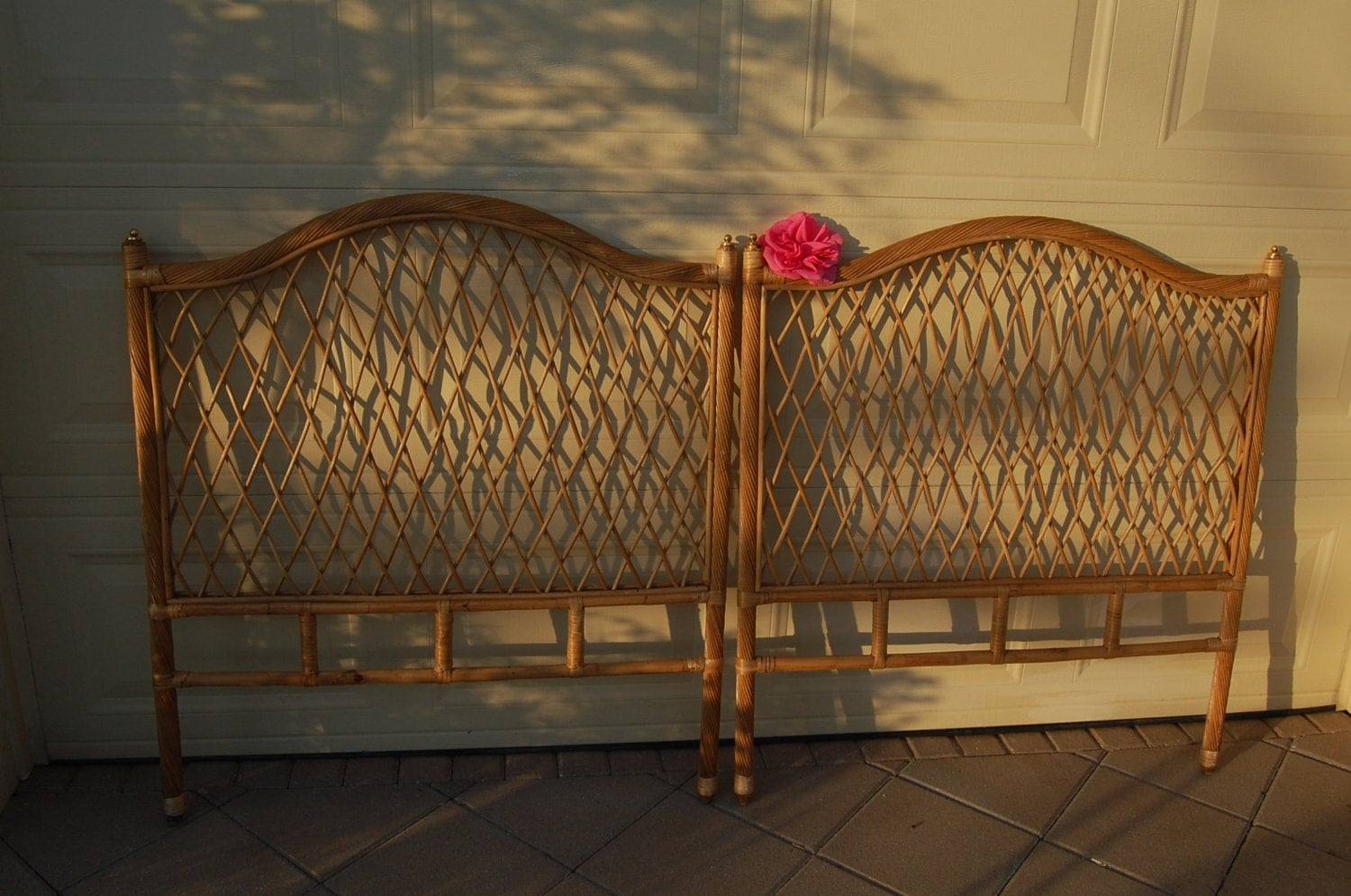 pair of vintage rattan wicker twin headboards on sale cottage. Black Bedroom Furniture Sets. Home Design Ideas