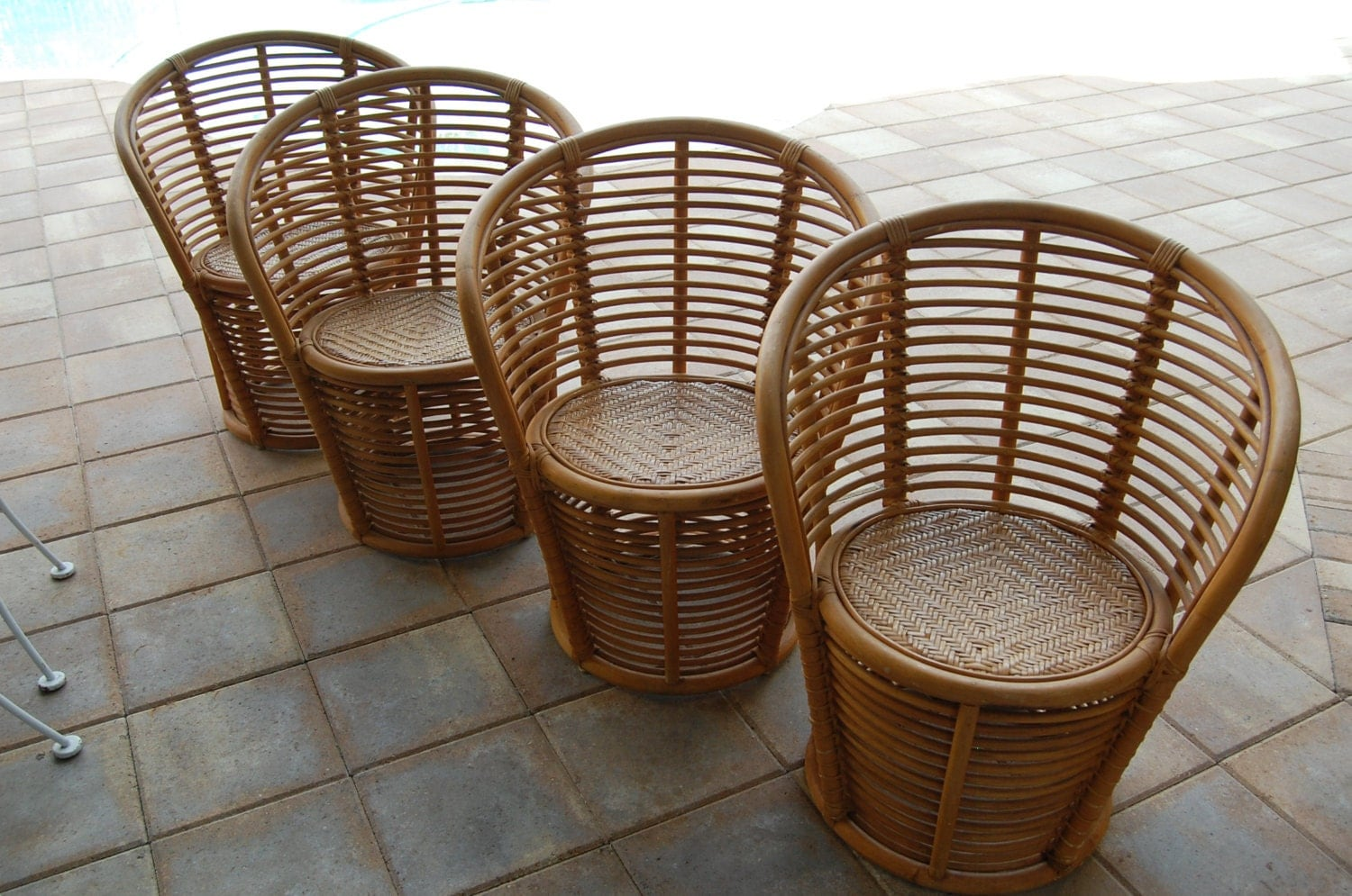 Vintage Bamboo Rattan Chairs On Sale Palm Beach Regency Style