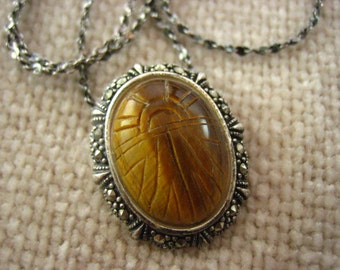Vintage Thailand Sterling Silver Carved Tiger Eye Marcasite Pendant Necklace  .....3523