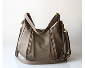 Womens Soft Leather Purse - OPELLE Baby Ballet Bag - Pebbled Leather Purse w Zipper Pockets in Mink
