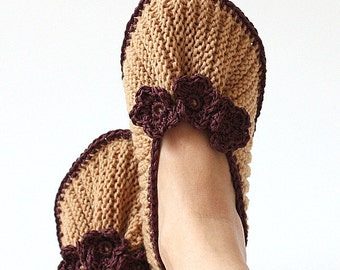 Knitting Pattern (PDF file - not finish item) Home Slippers Purl and Knit ( All Sizes)