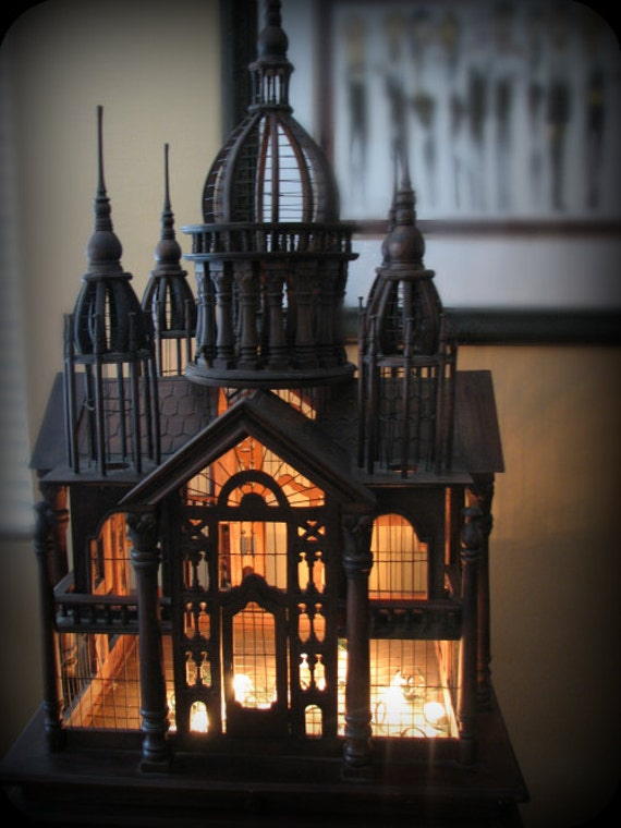 Victorian Architectural Carved Palace Birdcage On Matching
