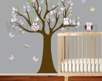 Vinyl Wall Decal Stickers Owl Tree Set Nursery Girls Baby Hayley