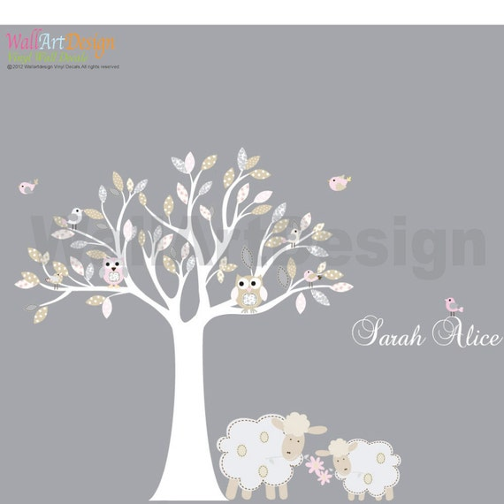 Vinyl wall decal Nursery Tree with lambs,owls,birds pattern leaves custom name