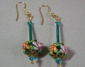 Aqua Lampworked Flower Earrings