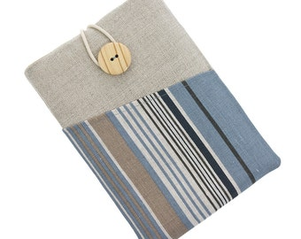 Kobo Glo case, Kobo touch cover, fabric Kobo Aura sleeve, Kindle Paperwhite case, Kindle Fire pouch, Kindle Touch case, stripes, blue, beige