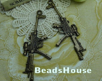 2pcs  High Quality Antiqued Vintage Bronze Gun Pendant/Charms,66 x 27mm