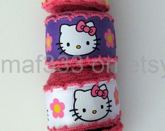 "A0014 - Twenty (20) YARDS Pretty Kitty on 7/8"" grosgrain ribbon with pink edging -  for scrapbooking, bowmaking, accessories"