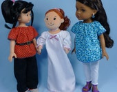 Peasant Blouse, Dress, Nightie pattern  Hearts for Hearts Girls, Les Cheries, Groovy Girls, 13-14 in doll pattern