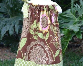 Pillowcase dress girls, floral Easter dress, baby dress, handmade baby gift, toddler dress, brown floral dress