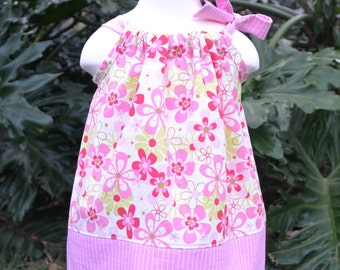 Spring Pink Floral Easter Pillowcase Dress - floral Easter dress - spring dress outfit - girls dress party dress