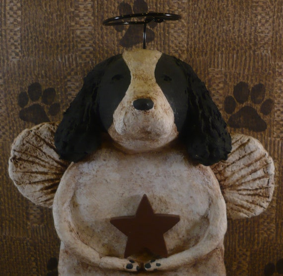 Springer Spaniel Angel OOAK, handmade from papier mache Black and White SPRINGER SPANIEL