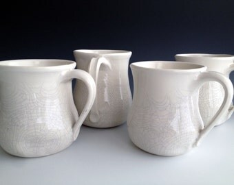 READY TO SHIP!!! Altered White crackle mugs, set of four, stoneware organic mugs by Leslie Freeman
