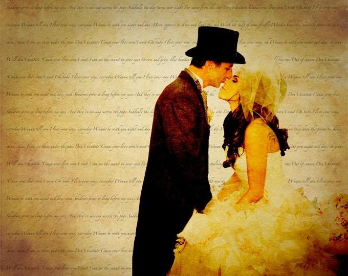First Dance Lyrics Song Lyric Art First dance Songs 2nd Anniversary Cotton Anniversary Wedding Vow Art 1st Anniversary Gift For Couple 12x16