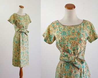 Vintage 1950s Dress, 50s Wiggle Dress, Aqua Blue Floral Print, Mid Century Dress, Short Sleeve Dress, Brown Dress,  Medium Bust 36 Waist 26