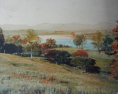 Antique Hand Tinted Photograph Hillside and Lake Scene hand tinted black and white photo pre color photography picture