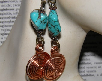 Turquoise Earrings Copper Earrings Sterling Silver, Copper Handcrafted Spiral of Life, Goddess Jewelry Wiccan Pagan Jewelry OOAK Earrings