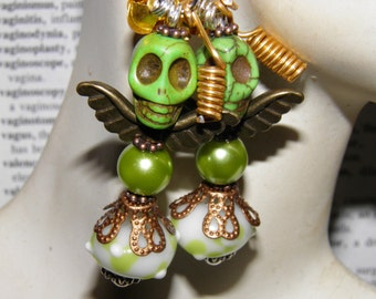 Day of the Dead Earrings Green Turquoise Angels Sugar Skull Jewelry Dia de los Muertos Day of the Dead Jewelry Halloween Earrings OOAK Goth