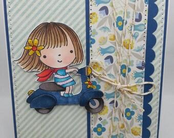 Mimi Scooting Around - Blank NoteCard, Greetings Card, Handmade Card