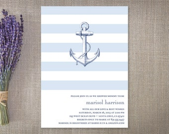 Nautical Baby Shower Invitation Boy, Nautical Anchor