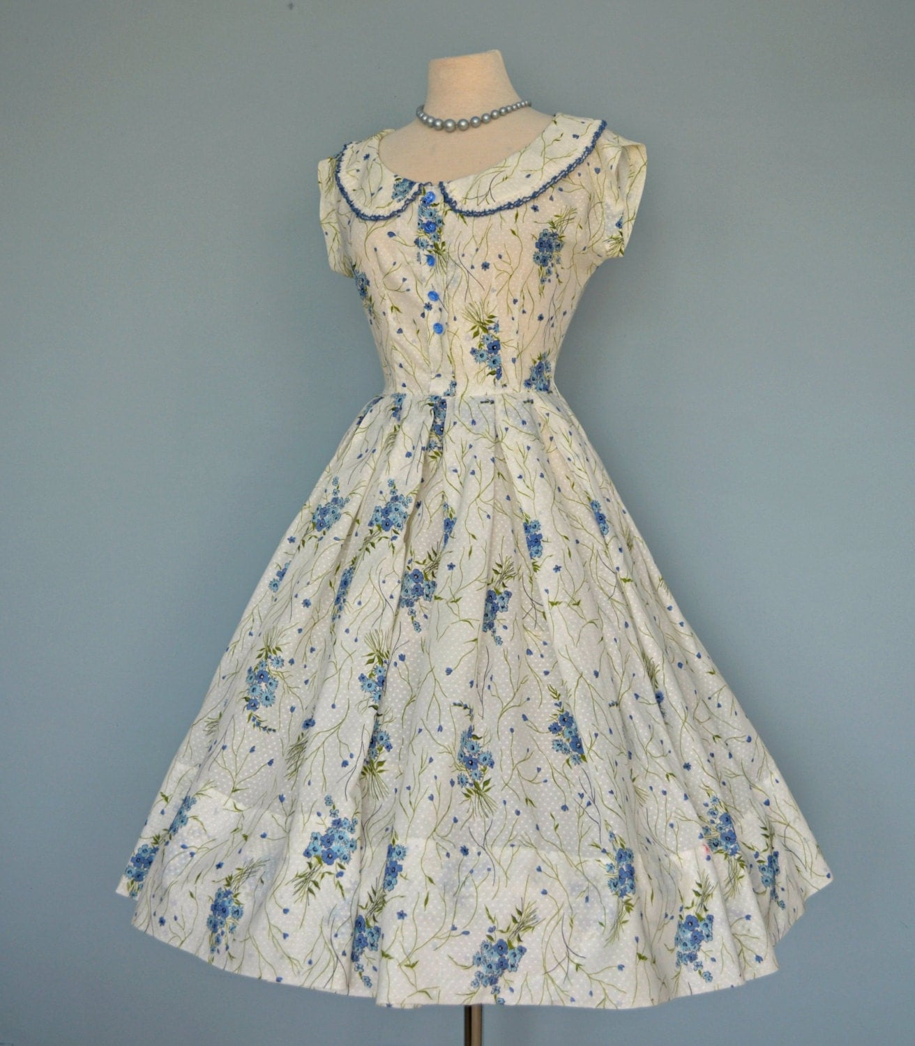Vintage 1950s Party Dress...Darling Cotton Blue and White