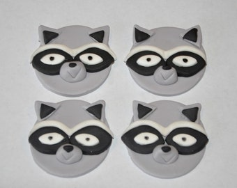 Raccoon Fondant Toppers for Cupcakes, Cake and Cookies- Edible- 1 DOZEN