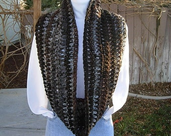 INFINITY SCARF Loop Cowl Black Brown Gray White Stripes Extra Soft 100% Acrylic Crochet Knit Winter Wide Circle Wrap Ready to Ship in 2 Days