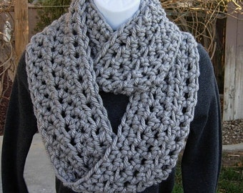 INFINITY SCARF Cowl Loop Light Solid Grey Gray 100% Soft Bulky Acrylic Thick Crochet Knit Winter Eternity Circle..Ready to Ship in 2 Days