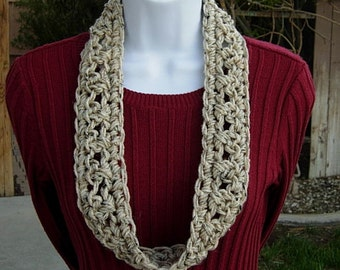 SUMMER SCARF Infinity Loop Cowl, Handmade Crochet Necklace, Oatmeal Beige Tan Tweed Small Skinny Circle..Ready to Ship in 2 days