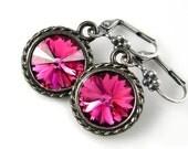 Fuchsia Pink Earrings Swarovski Deep Pink Crystal Earrings Antique Silver Earrings Magenta Raspberry Pink Earrings