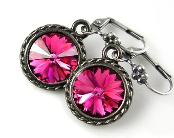 Fuchsia Pink Earrings Swarovski Deep Pink Crystal Earrings Antique Silver Earrings Magenta Raspberry Pink Earrings